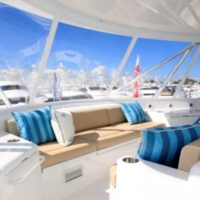 Flybridge Lounge-Hatteras GT70-Marlin Parchment with Beluga Off-White Welt- Image # 1230