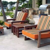 Patio Lounge Chairs-Striped