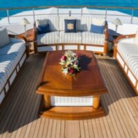Sun Deck Seating with Pillows-Katharine-Perennials Rowdy Stripe Go navy-Image # 1219